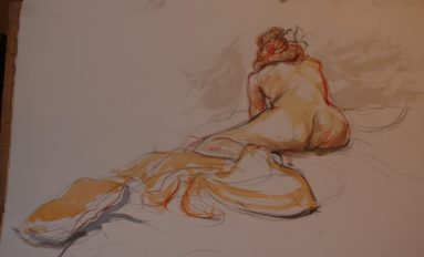 Woman lying down on front - quick life drawing