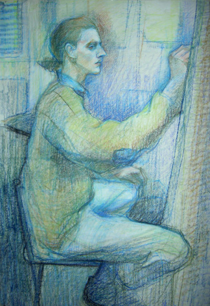 Pencil figure drawing of sitting man