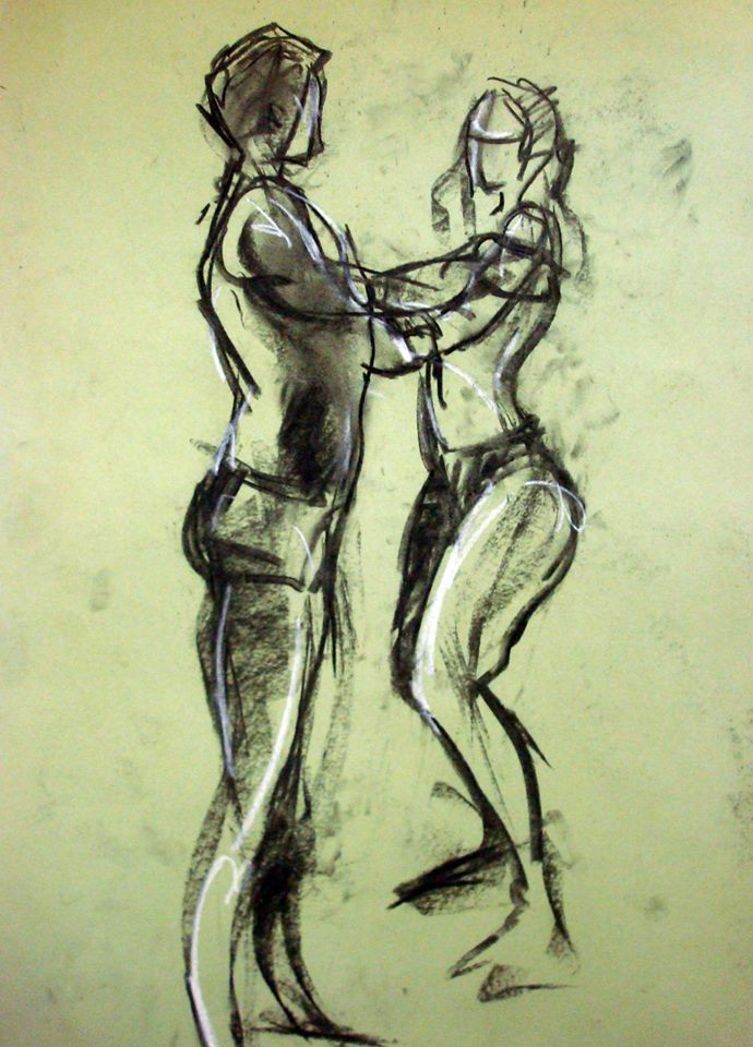 Even in very quick 2 minute drawings, the combination of coloured paper, charcoal and a highlight colour can create all the levels of tone needed to capture a figure